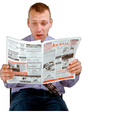 A man reading the news